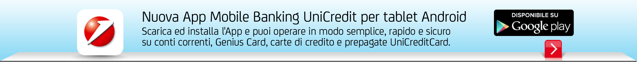 Nuova App Mobile Banking UniCredit per Tablet Android
